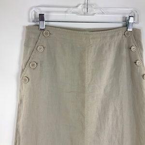 Max Studio Sailor Button Linen Maxi Skirt Oatmeal